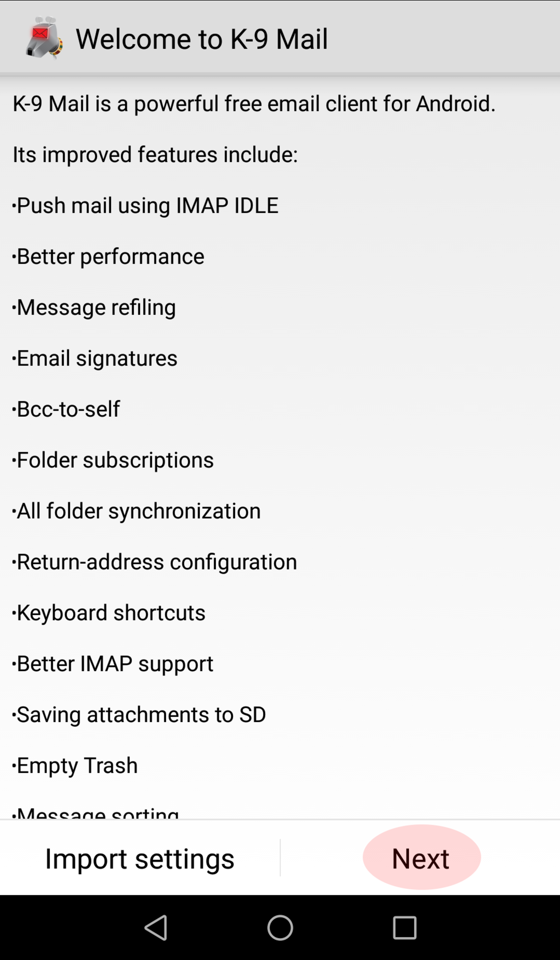 Set up new e-mail account with K-9 mail of Android™