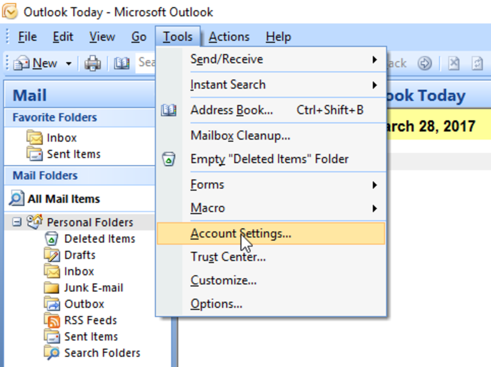 Set up new e-mail account in Microsoft Office Outlook 2007