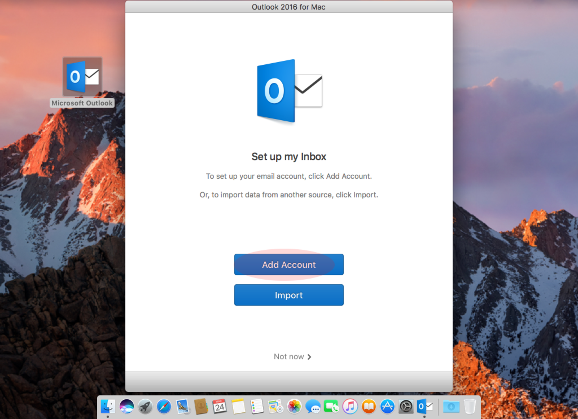Set up new e-mail account in Outlook 2016 for Mac OS X