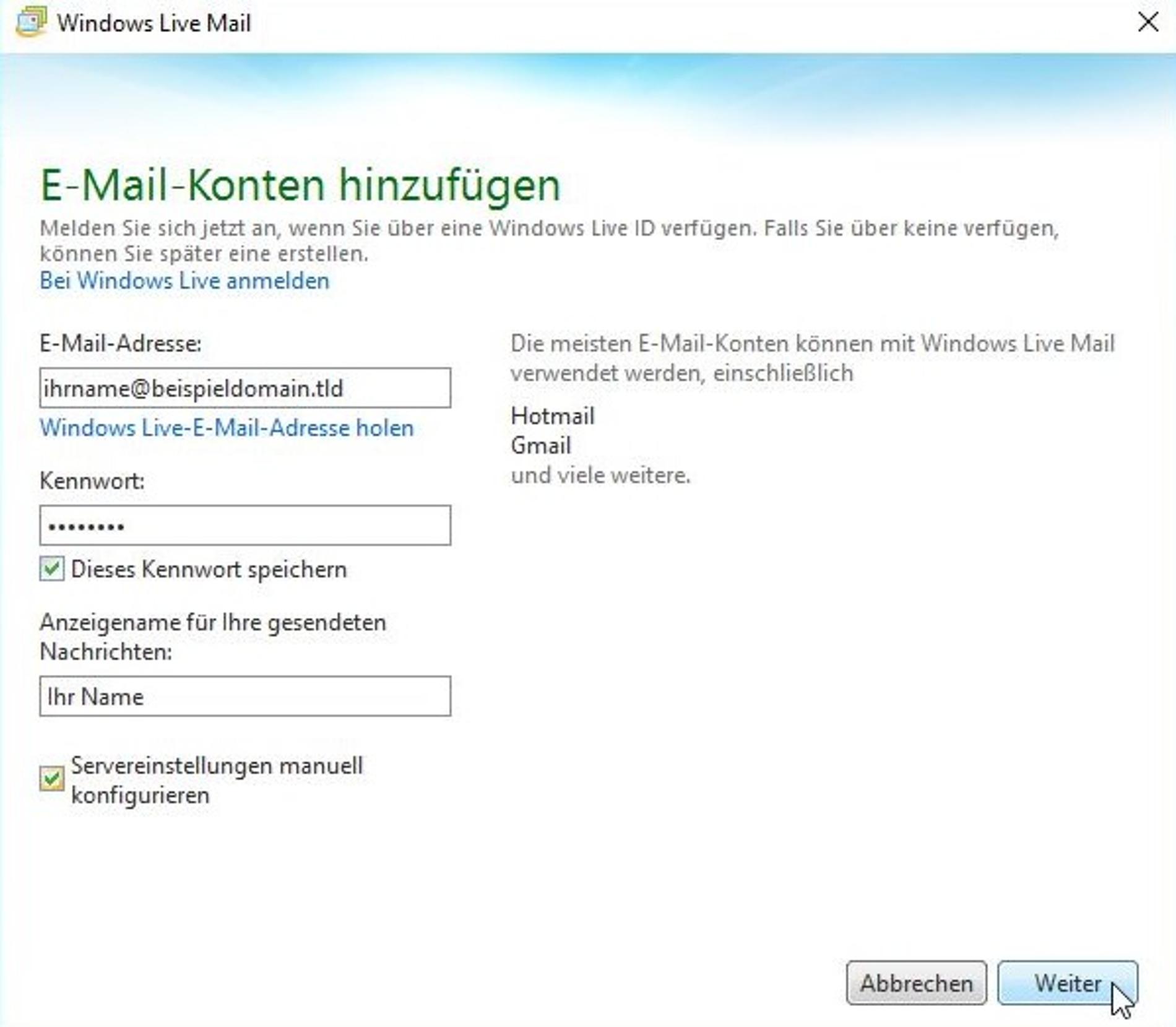 Windows Live Mail Einrichten Detail Anleitung Inkl Screenshots
