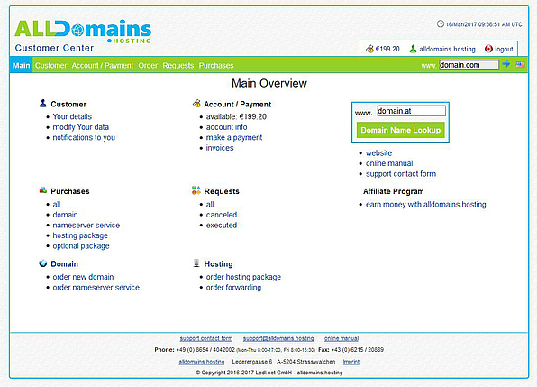 alldomains.hosting Customer Center