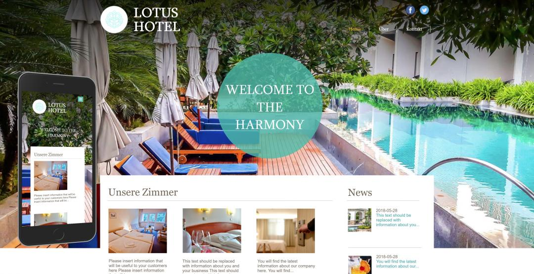 Create a responsive hotel website, design pattern 1