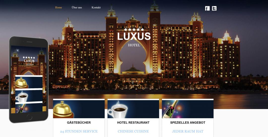 Create a responsive hotel website, design pattern 3