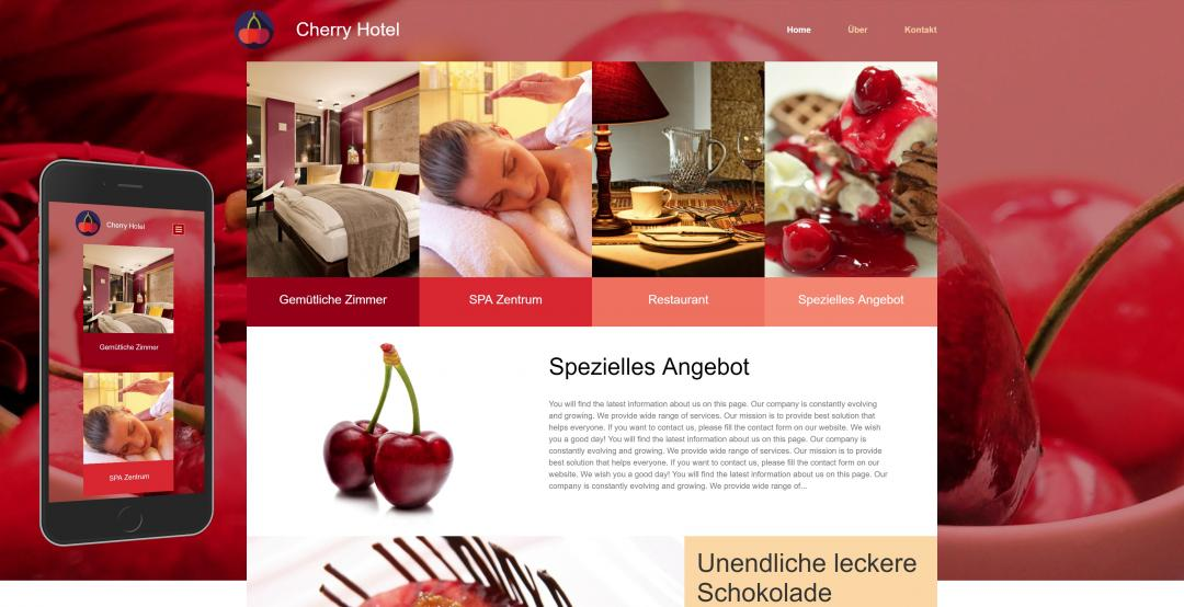 Create a responsive hotel website, design pattern 4