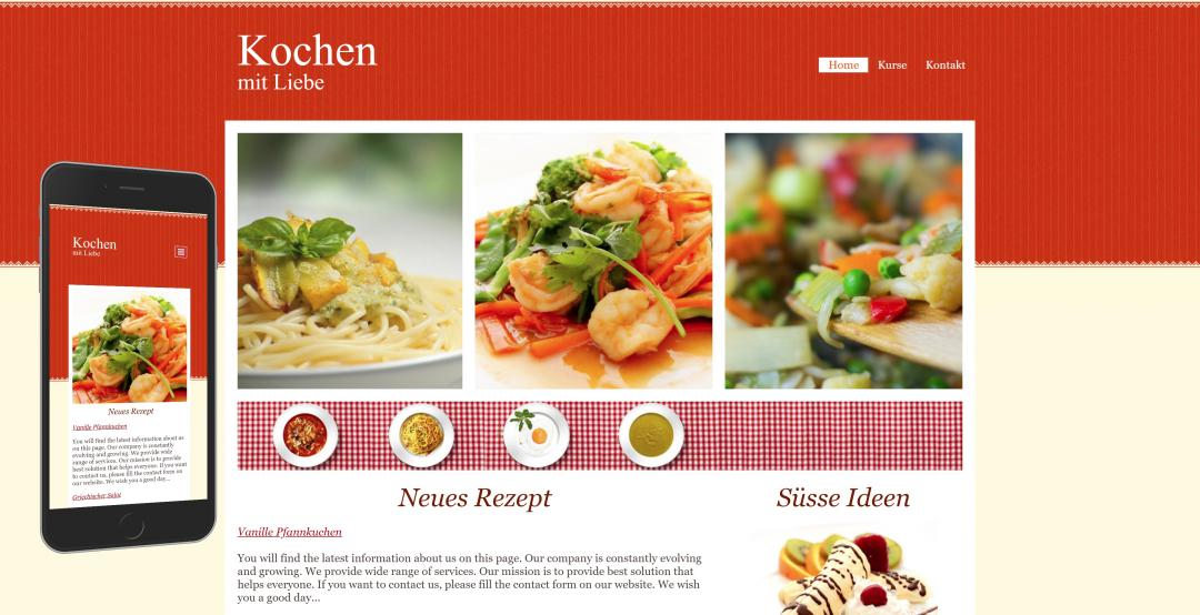 Create a responsive food website, design pattern 1