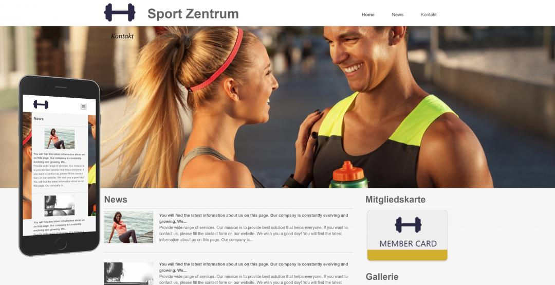 Create a responsive sports website, design pattern 2