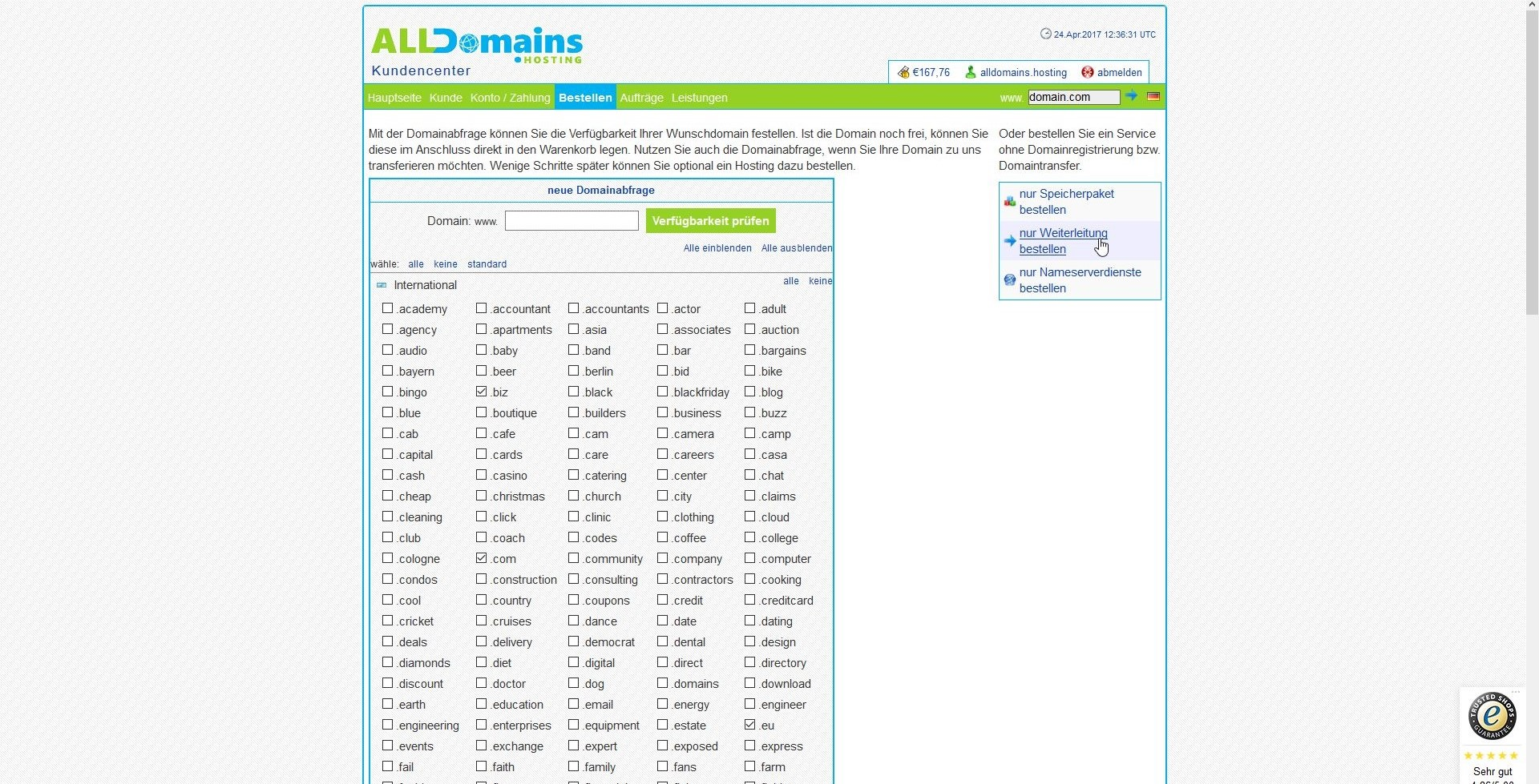 alldomains.hosting Domain/E-Mail Weiterleitung Screen1