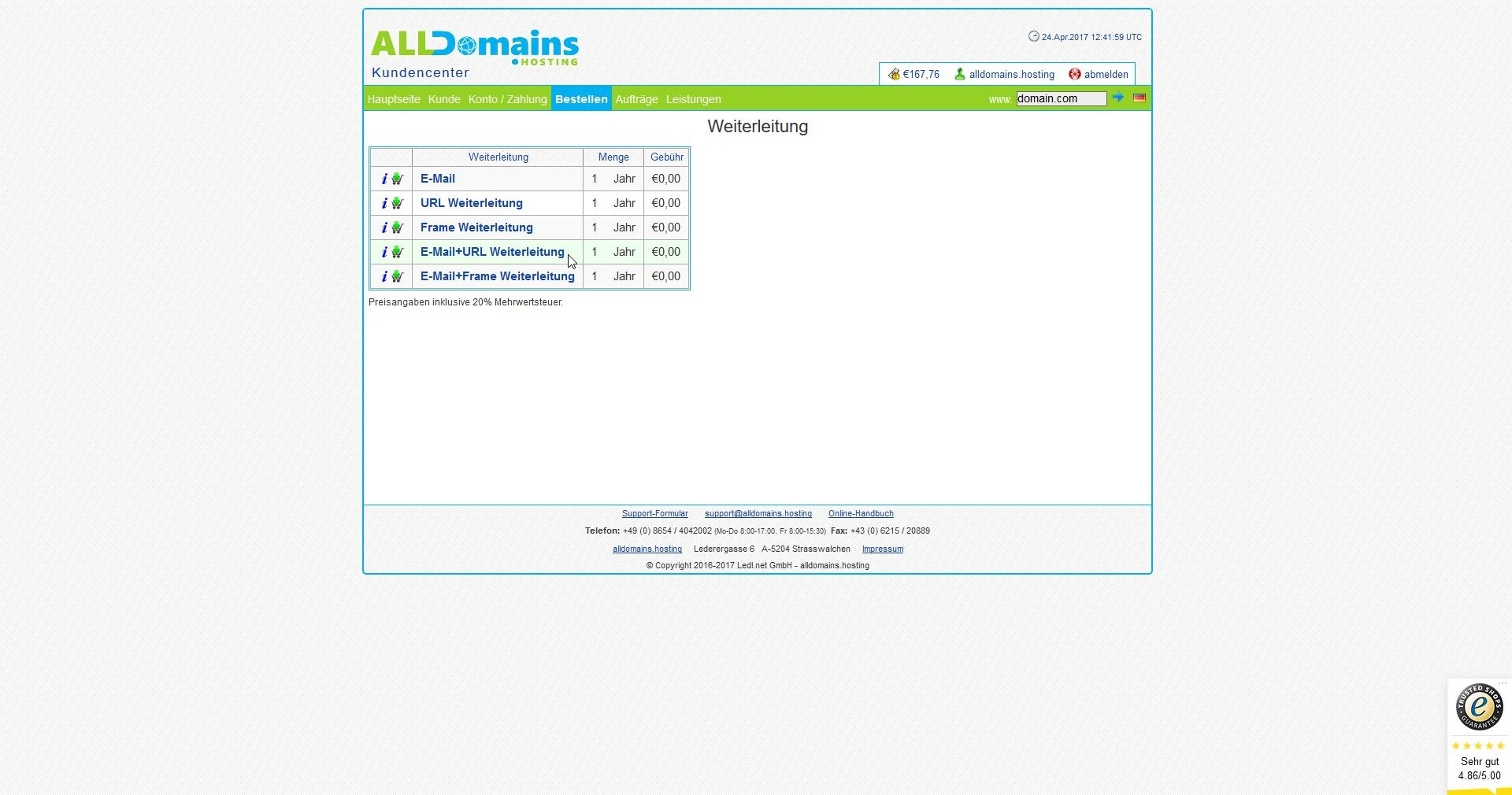 alldomains.hosting Domain/E-Mail Weiterleitung Screen2