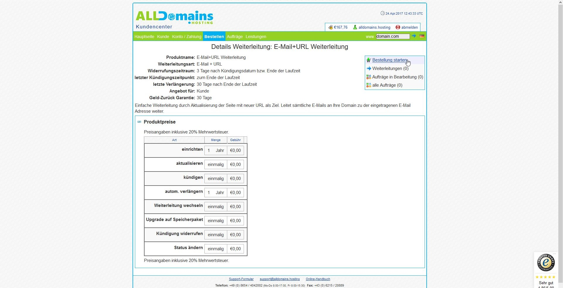 alldomains.hosting Domain/E-Mail Weiterleitung Screen3