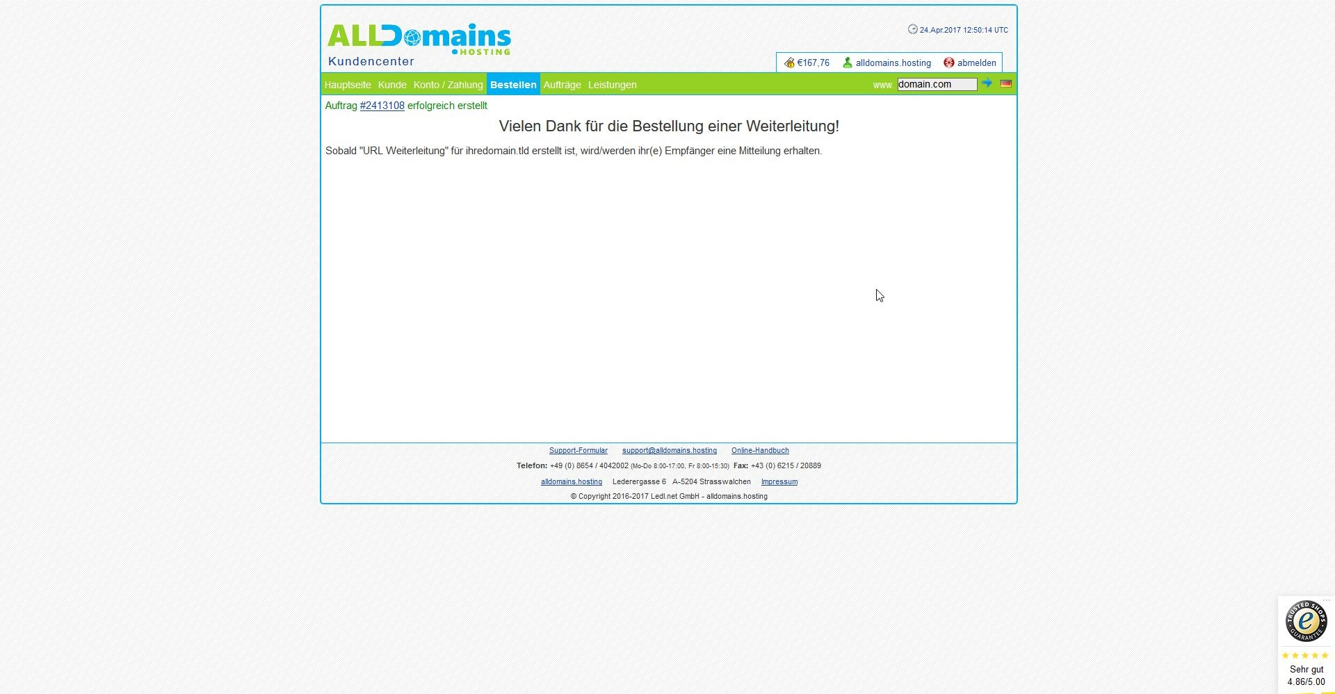 alldomains.hosting Domain/E-Mail Weiterleitung Screen5